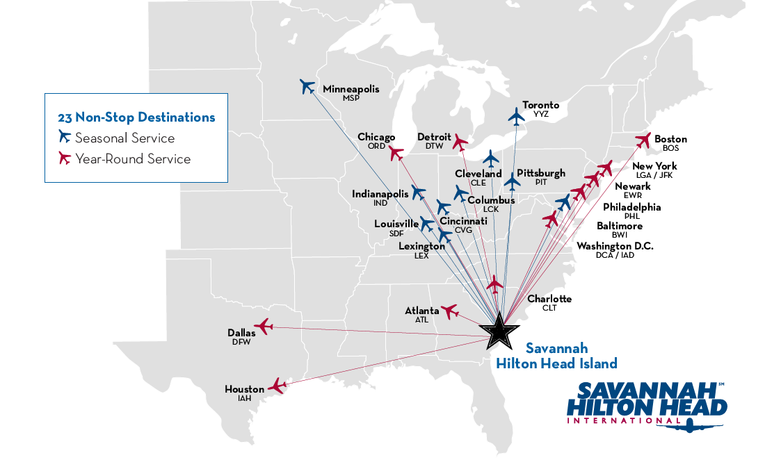 Flights To Savannah Route Map Savannah Hilton Head - Us airways direct flights map